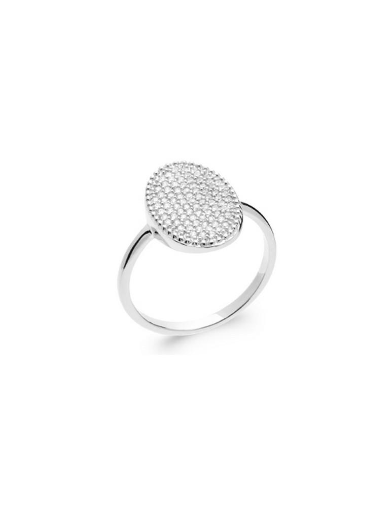 Bague ovale argent 925 rhodié pavage oxydes femme
