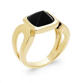 Bague plaqué or agate noire pyramide plaqué or femme