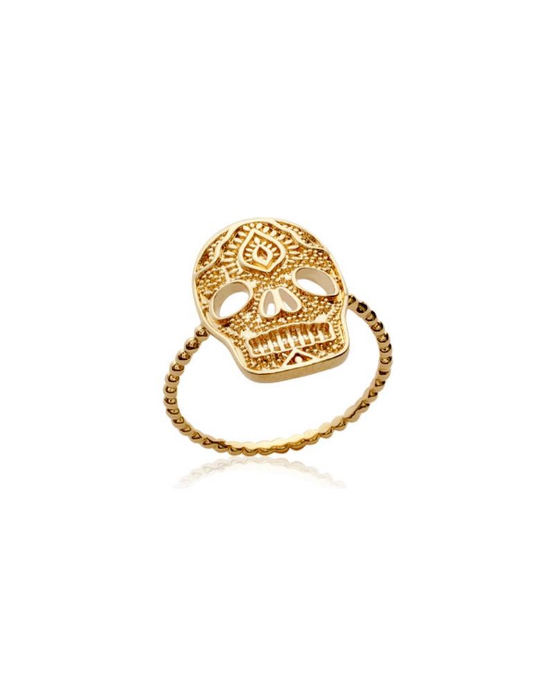 Bague plaqué or tête de mort femme