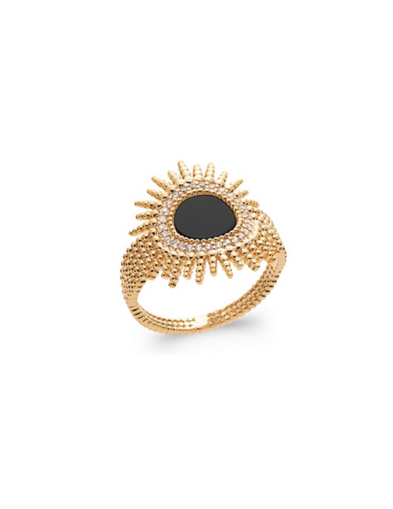 Bague plaqué or large perlée soleil agate noire femme