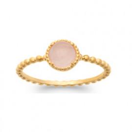 Bague plaqué or perlée femme quartz rose