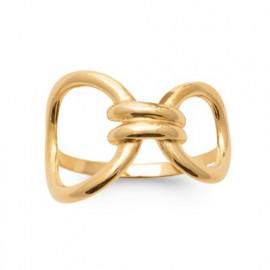 Bague plaqué or femme gros anneaux et godrons