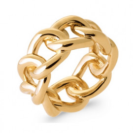 Bague plaqué or gros anneaux femme
