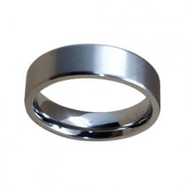Bague acier confort homme plate brillante 6 mm