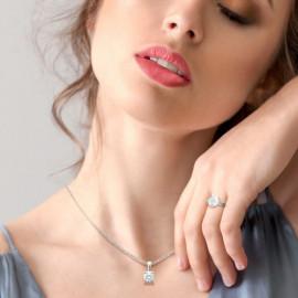 Pendentif or 750 blanc diamant de synthèse 0.20 ct certifié