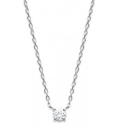 collier argent solitaire oxyde