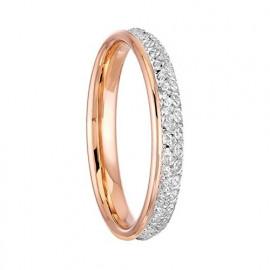 Alliance femme or 750/°° bicolore rose et blanc diamantée et lisse
