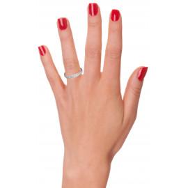 Alliance femme or 750/°° rose et blanc perlé