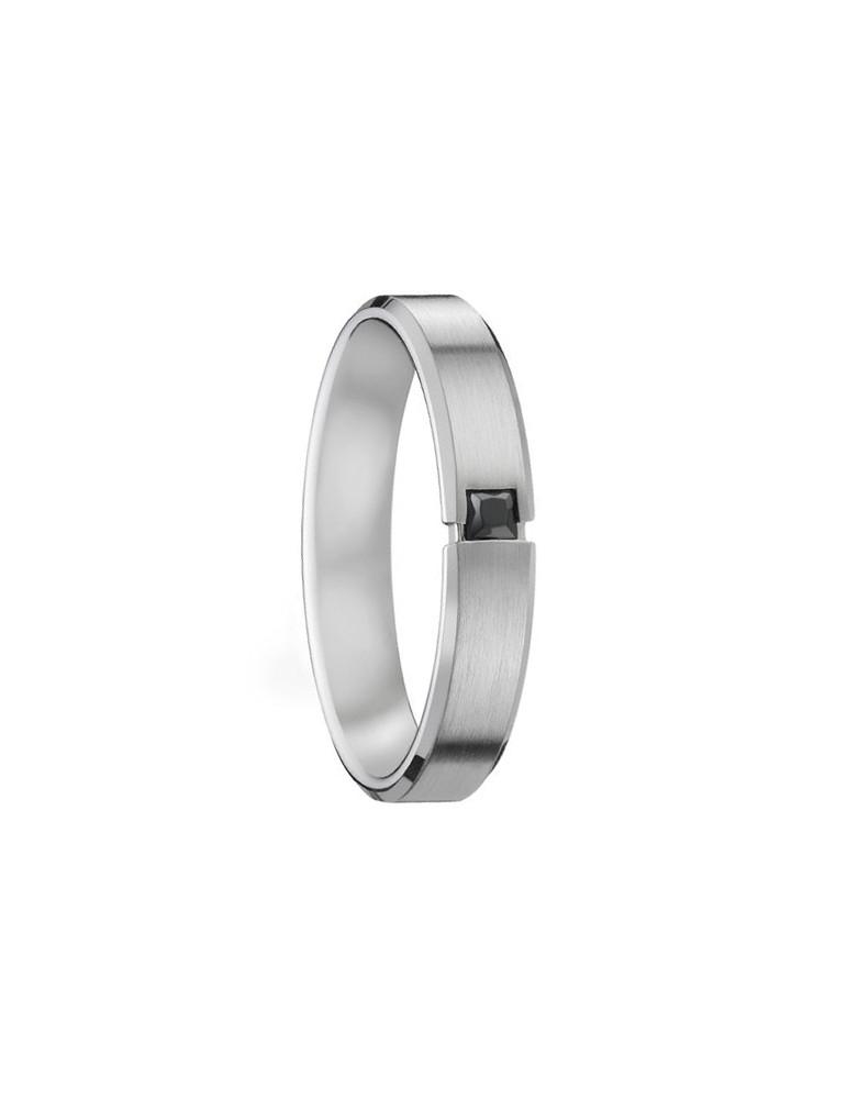 Alliance platine brossée homme 4,5 mm diamant noir 0,10 ct