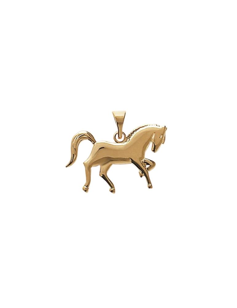Pendentif plaqué or cheval équitation