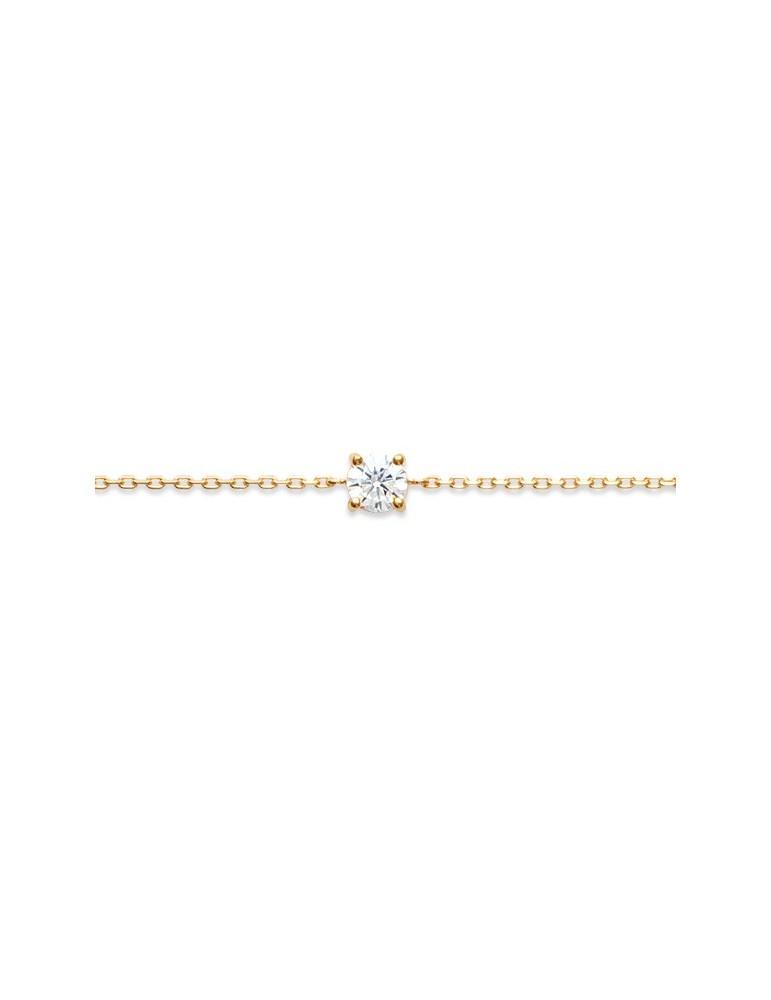 Bracelet plaqué or femme solitaire oxyde 4 mm LBIJOUX - 1
