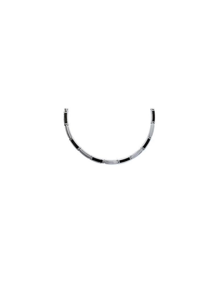 Collier acier et carbone homme 7 mm  - 1