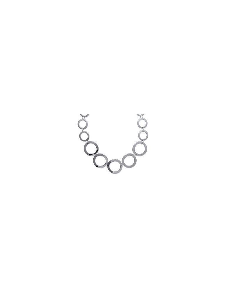 Collier acier femme gros maillons cercles  - 1
