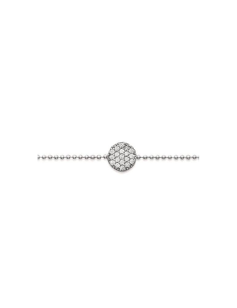 Bracelet argent 925 rhodié femme jeton oxydes  - 1