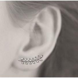 Contours d'oreilles argent 925 rhodié femme laurier