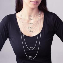 Collier femme argent 925 rhodié laurier 45 cm