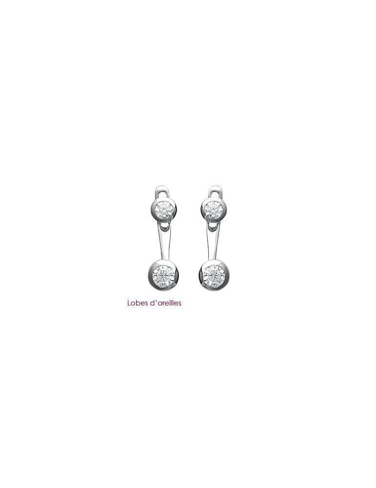 Lobes d'oreilles femme argent 925 rhodié oxydes  - 1