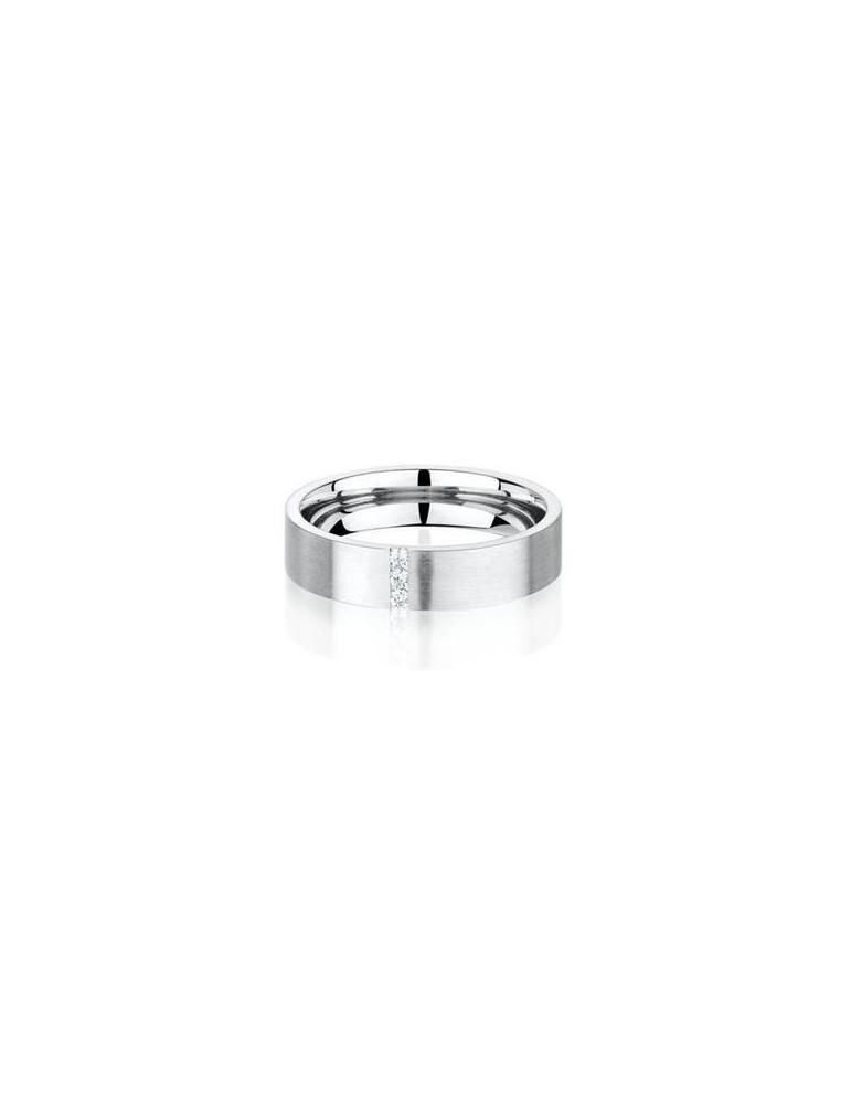 Alliance titane homme plate brossée confort 4.8 mm diamant 0.039 ct HSI