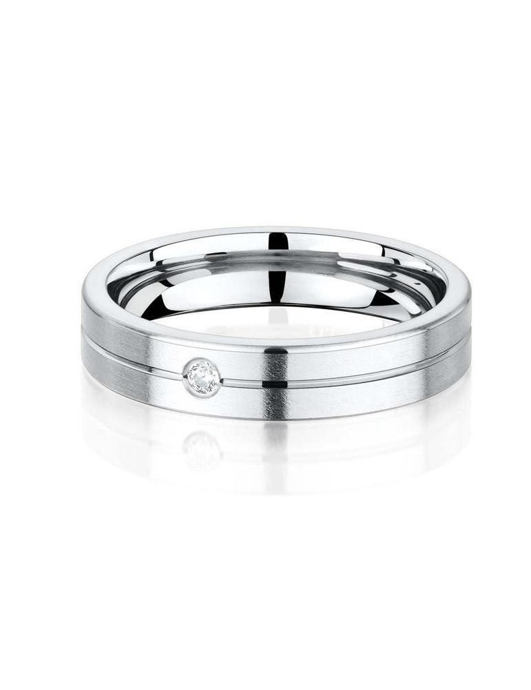 Alliance titane homme confort plate brossée confort rainure 4.5 mm diamant 0.03 ct HSI