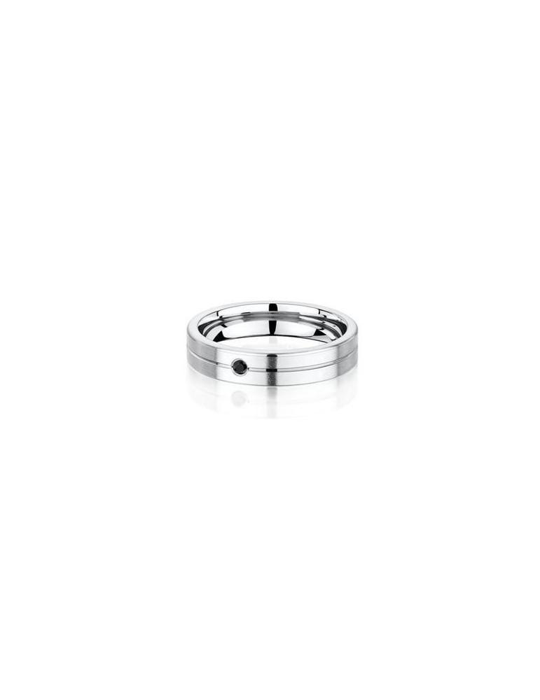 Alliance titane confort homme plate brossée confort rainure 4.5 mm diamant noir 0.026 ct