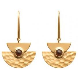 Boucles d'oreilles pendantes plaqué or martelée et marron  - 1