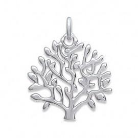 Pendentif argent 925 rhodié arbre de vie  - 1