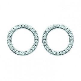 Boucles d'oreilles argent 925 rhodié cercles oxydes  - 1