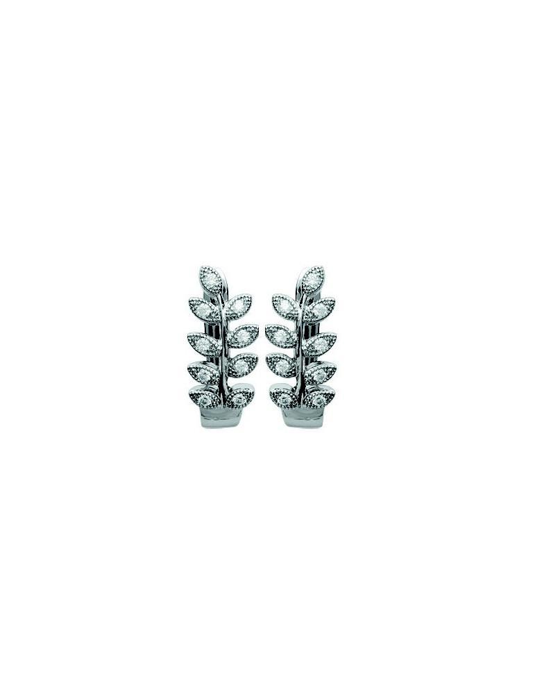 Boucles d'oreilles argent 925 rhodié femme laurier  - 1