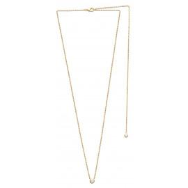 Collier plaqué or solitaire 4 mm 45 cm dos nu