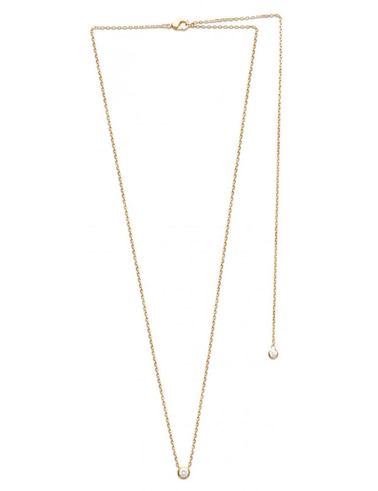 Collier plaqué or femme solitaire oxyde 4 mm dos nu  - 4