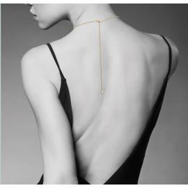 Collier plaqué or femme solitaire oxyde 4 mm dos nu  - 2