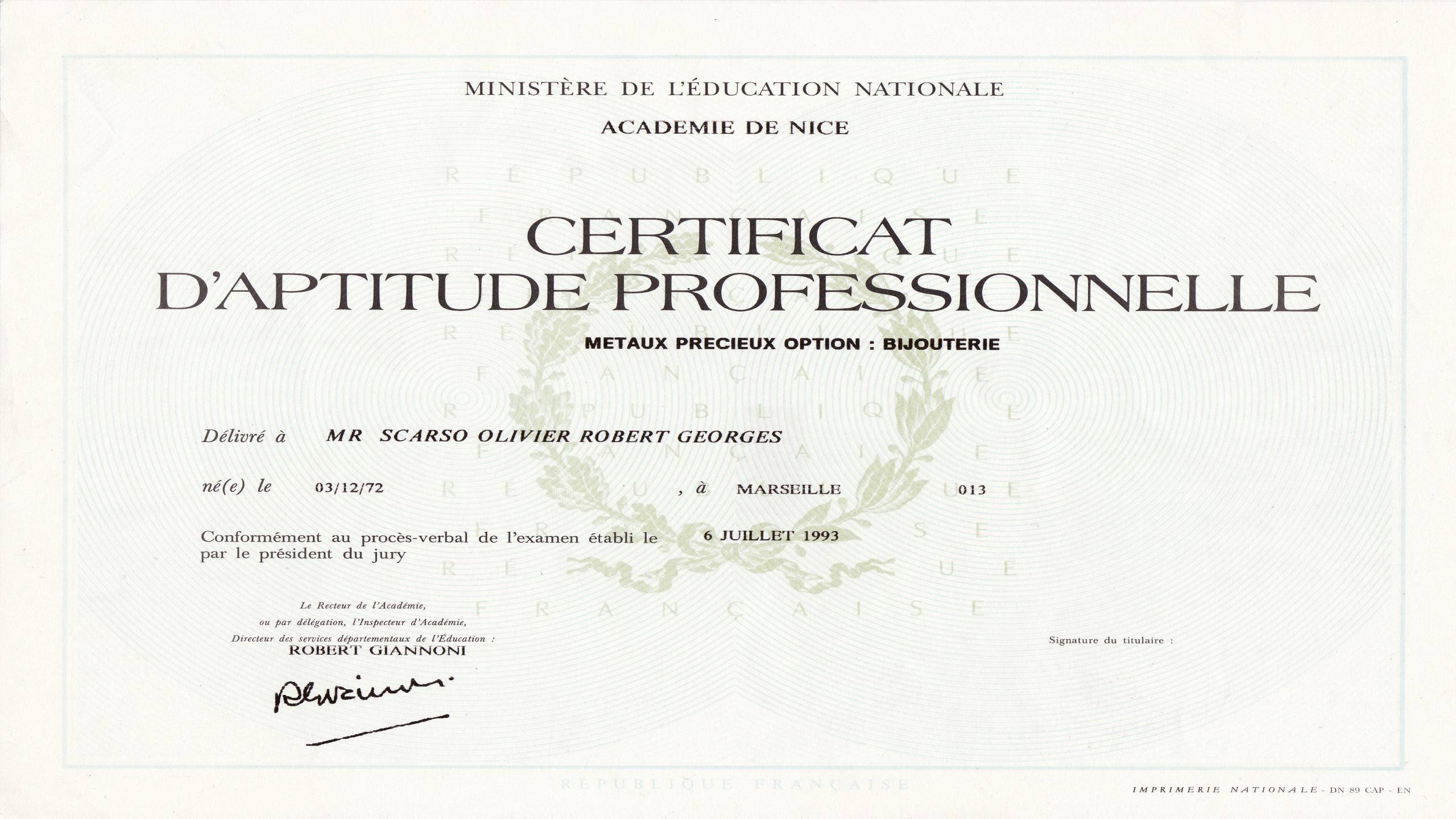 Diplome artisan bijoutier olivier Lbijoux